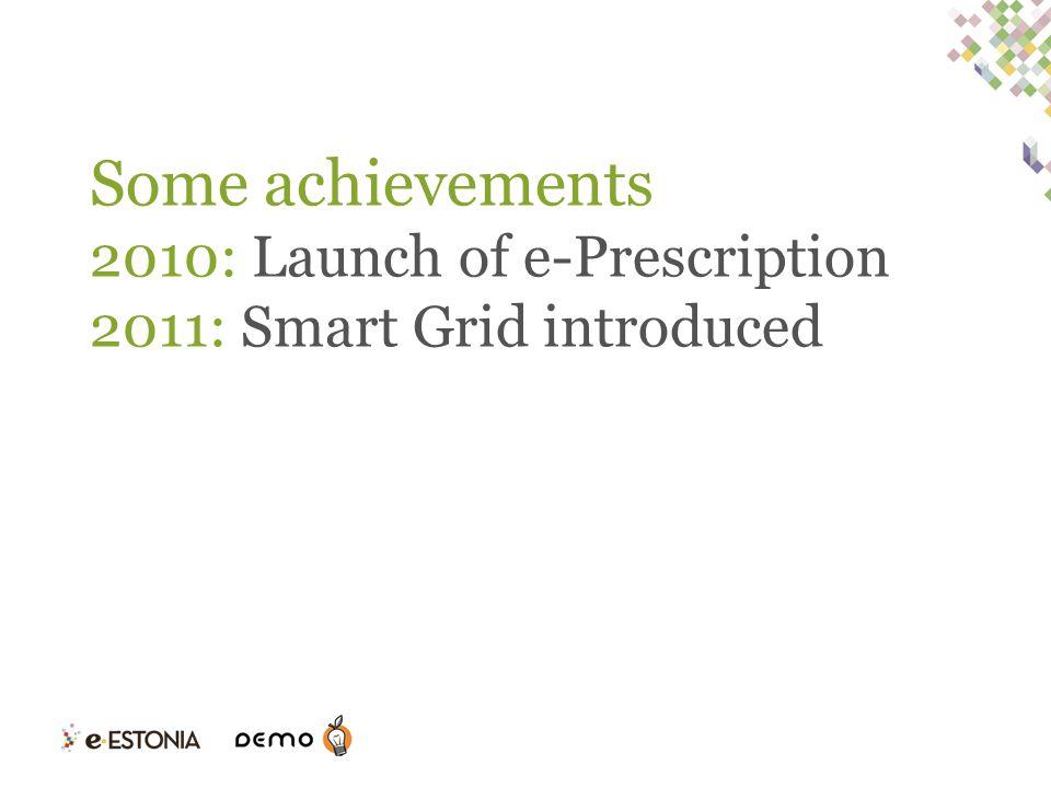 Some achievements 2010: Launch of e-Prescription 2011: Smart Grid introduced