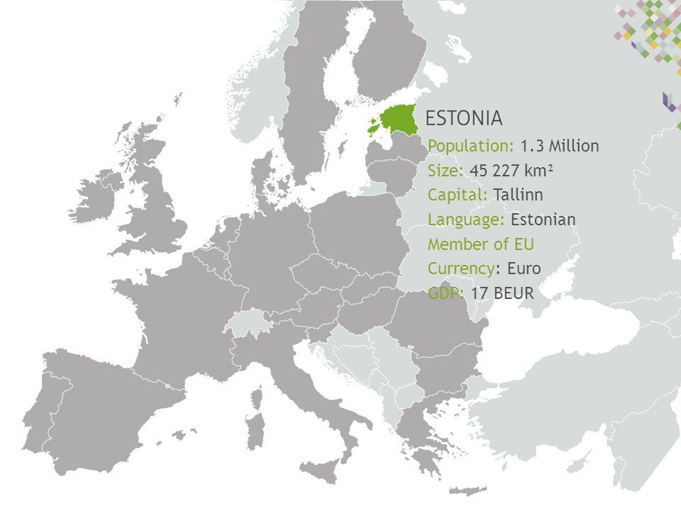 Population: 1.3 Million Size: 45 227 km² Capital: Tallinn Language: Estonian Member of EU Currency: Euro GDP: 17 BEUR