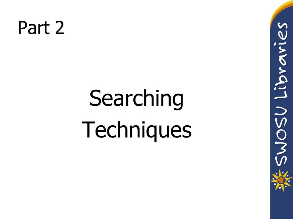 Part 2 Searching Techniques