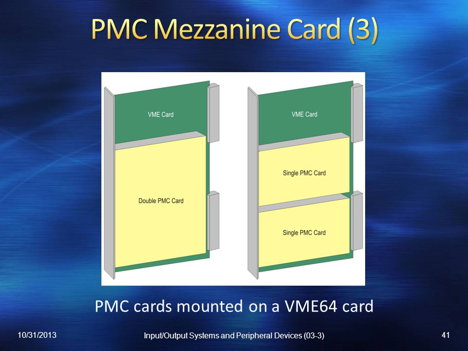 PMC cards mounted on a VME64 card 10/31/2013 Input/Output Systems and Peripheral Devices (03-3) 41