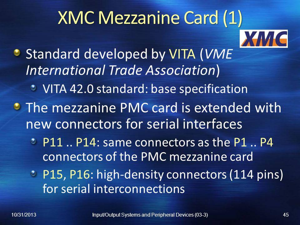 XMC Mezzanine Card (1) Standard developed by VITA (VME International Trade Association) VITA 42.0 standard: base specification The mezzanine PMC card