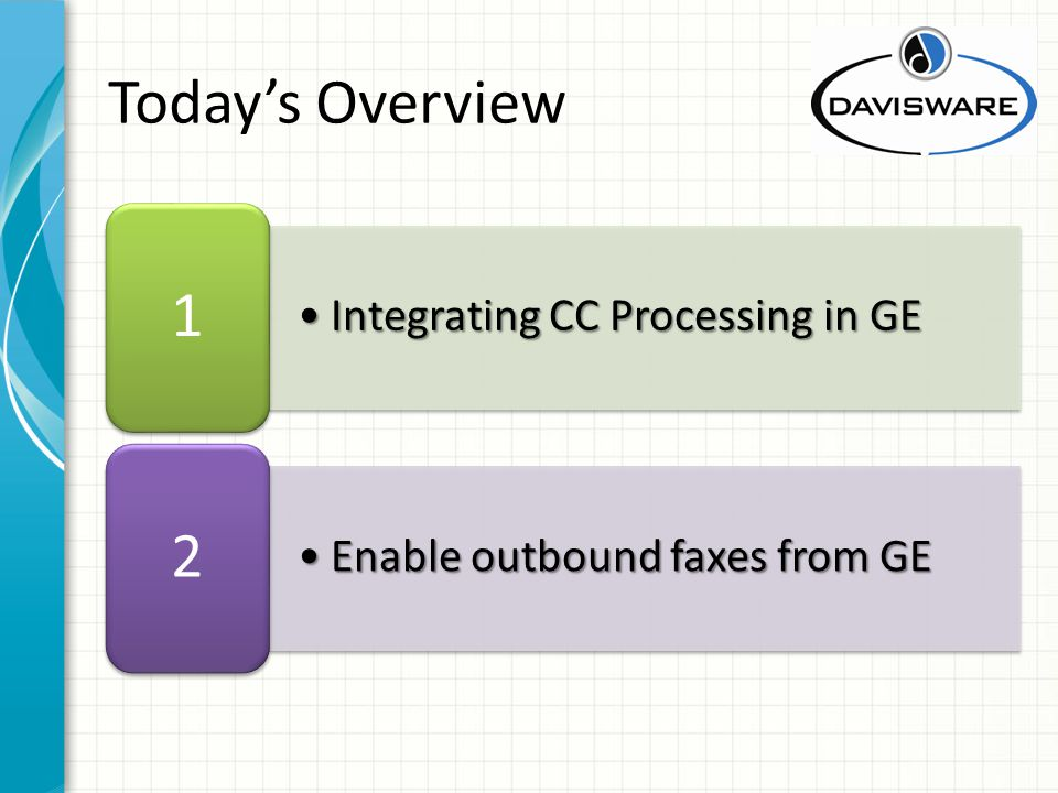 Integrating CC Processing in GEIntegrating CC Processing in GE 1 Enable outbound faxes from GEEnable outbound faxes from GE 2 Todays Overview