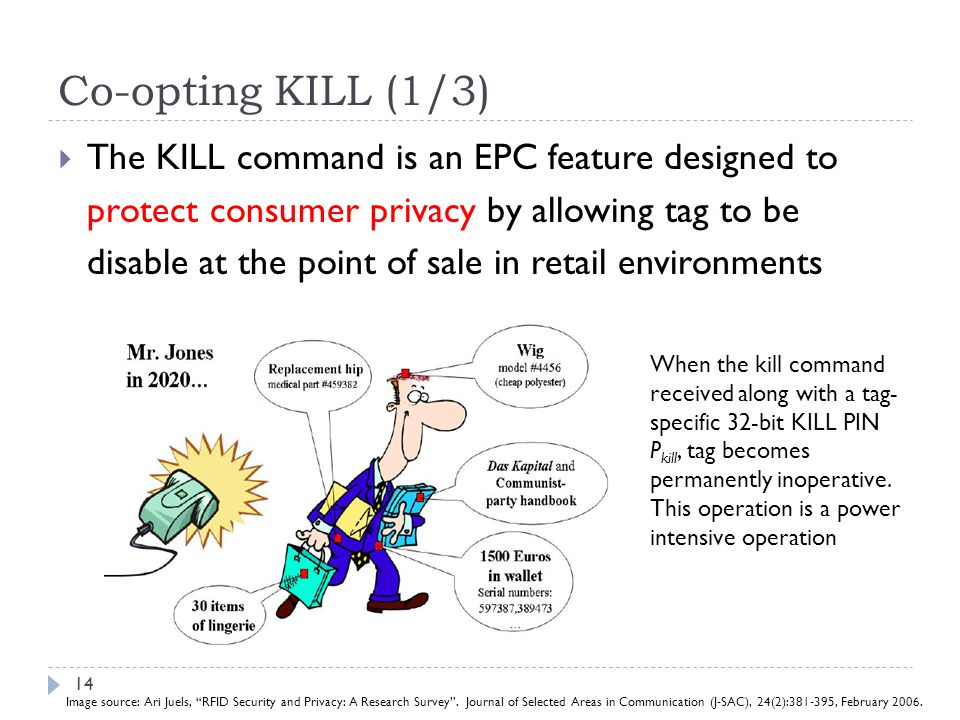 Co-opting KILL (1/3) The KILL command is an EPC feature designed to protect consumer privacy by allowing tag to be disable at the point of sale in ret