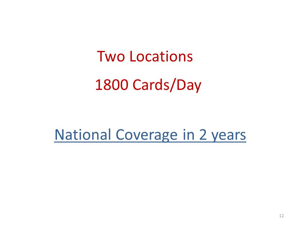12 Two Locations 1800 Cards/Day National Coverage in 2 years