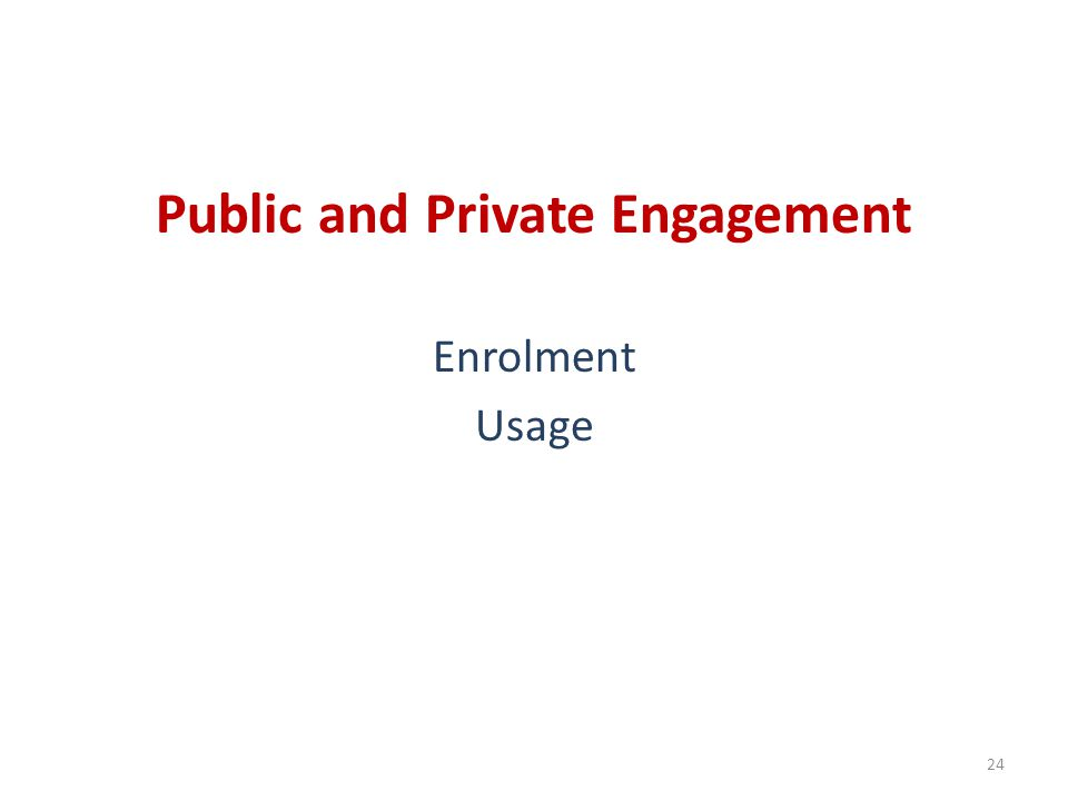 Public and Private Engagement Enrolment Usage 24