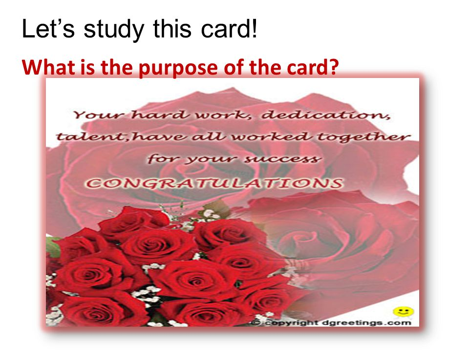 Lets study this card! What is the purpose of the card?