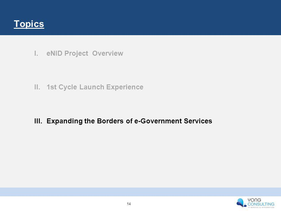 Topics I.eNID Project Overview II.1st Cycle Launch Experience III.Expanding the Borders of e-Government Services 14