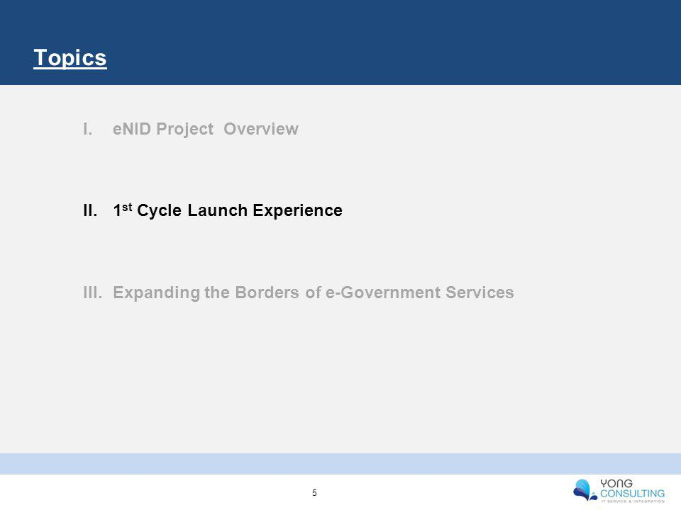 Topics I.eNID Project Overview II.1 st Cycle Launch Experience III.Expanding the Borders of e-Government Services 5