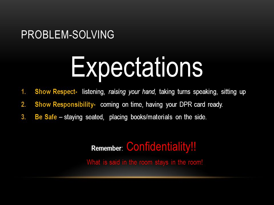PROBLEM-SOLVING Expectations 1. Show Respect- listening, raising your hand, taking turns speaking, sitting up 2. Show Responsibility- coming on time,