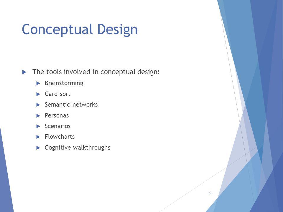 Conceptual Design The tools involved in conceptual design: Brainstorming Card sort Semantic networks Personas Scenarios Flowcharts Cognitive walkthrou
