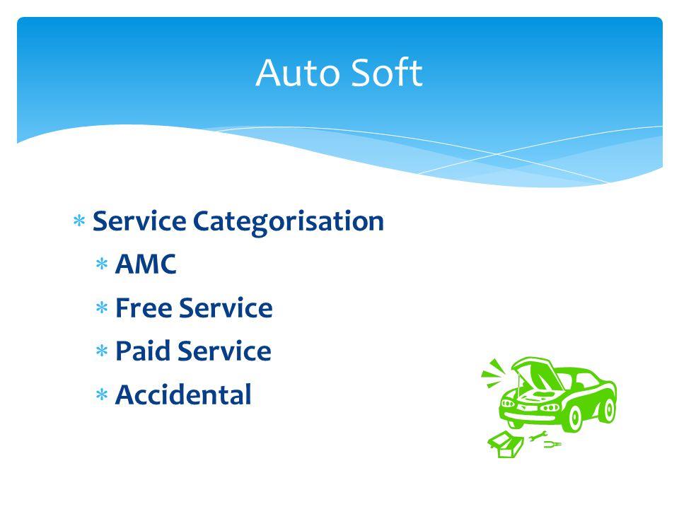 Service Categorisation AMC Free Service Paid Service Accidental Auto Soft