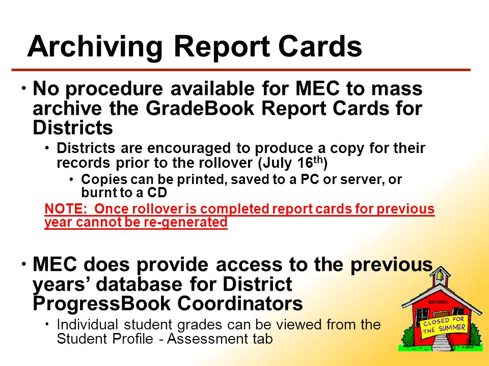 Year-End Reports Period Attendance Report Includes a file for each school building that has used Period Attendance.