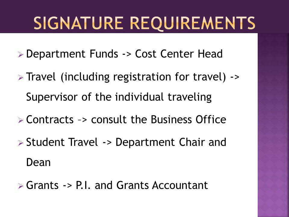 Department Funds -> Cost Center Head Travel (including registration for travel) -> Supervisor of the individual traveling Contracts –> consult the Business Office Student Travel -> Department Chair and Dean Grants -> P.I.