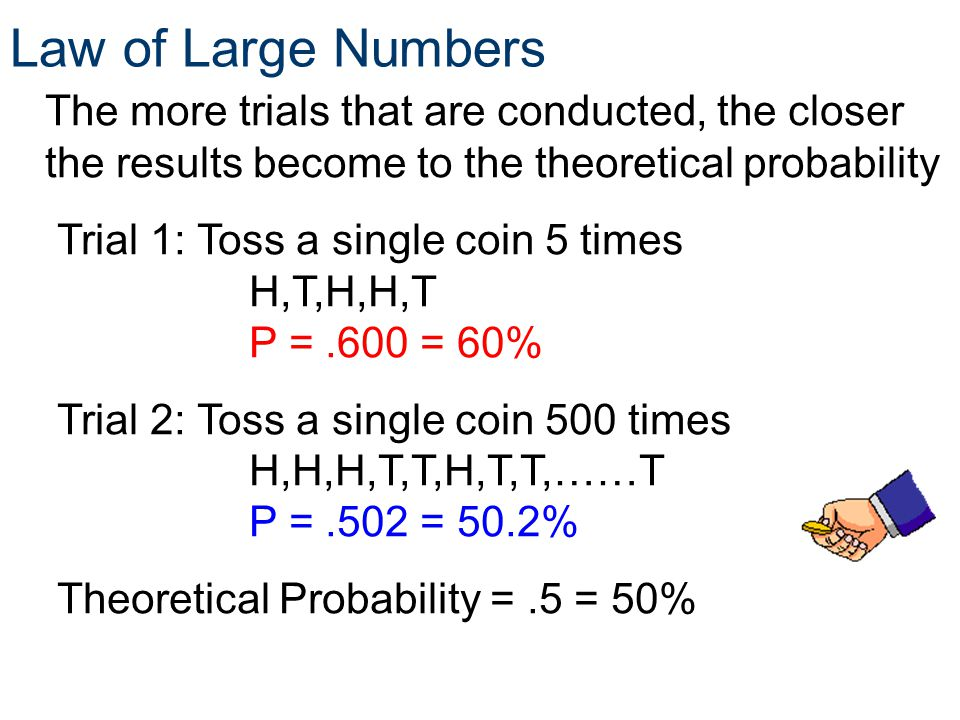 Law of Large Numbers Trial 1: Toss a single coin 5 times H,T,H,H,T P =.600 = 60% Trial 2: Toss a single coin 500 times H,H,H,T,T,H,T,T,……T P =.502 = 5