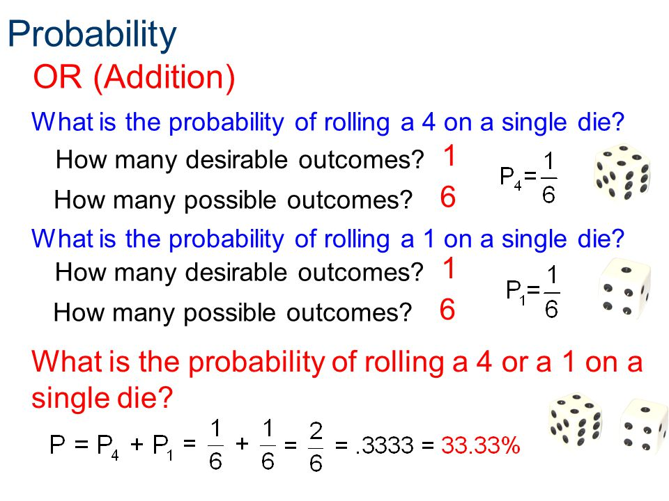 Probability OR (Addition) What is the probability of rolling a 4 on a single die? How many possible outcomes? How many desirable outcomes? 1 6 What is