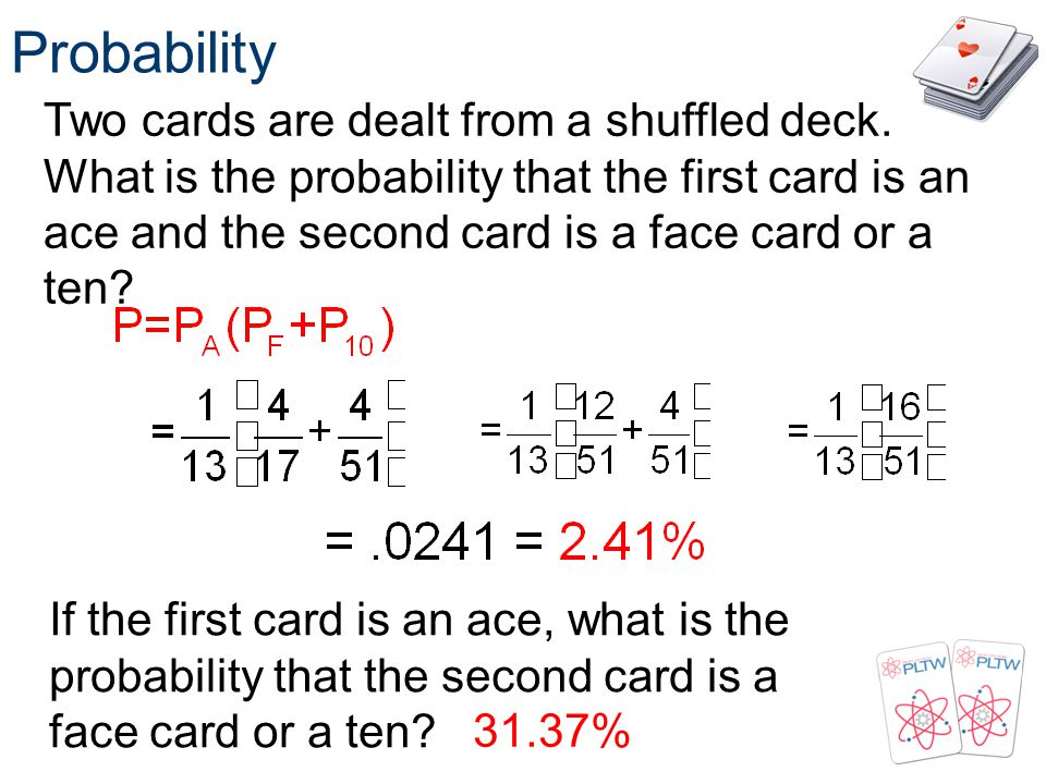 Probability Two cards are dealt from a shuffled deck. What is the probability that the first card is an ace and the second card is a face card or a te