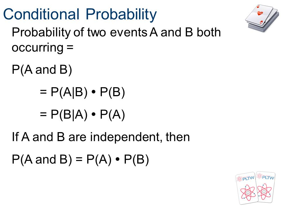 Conditional Probability Probability of two events A and B both occurring = P(A and B) = P(A|B) P(B) = P(B|A) P(A) If A and B are independent, then P(A
