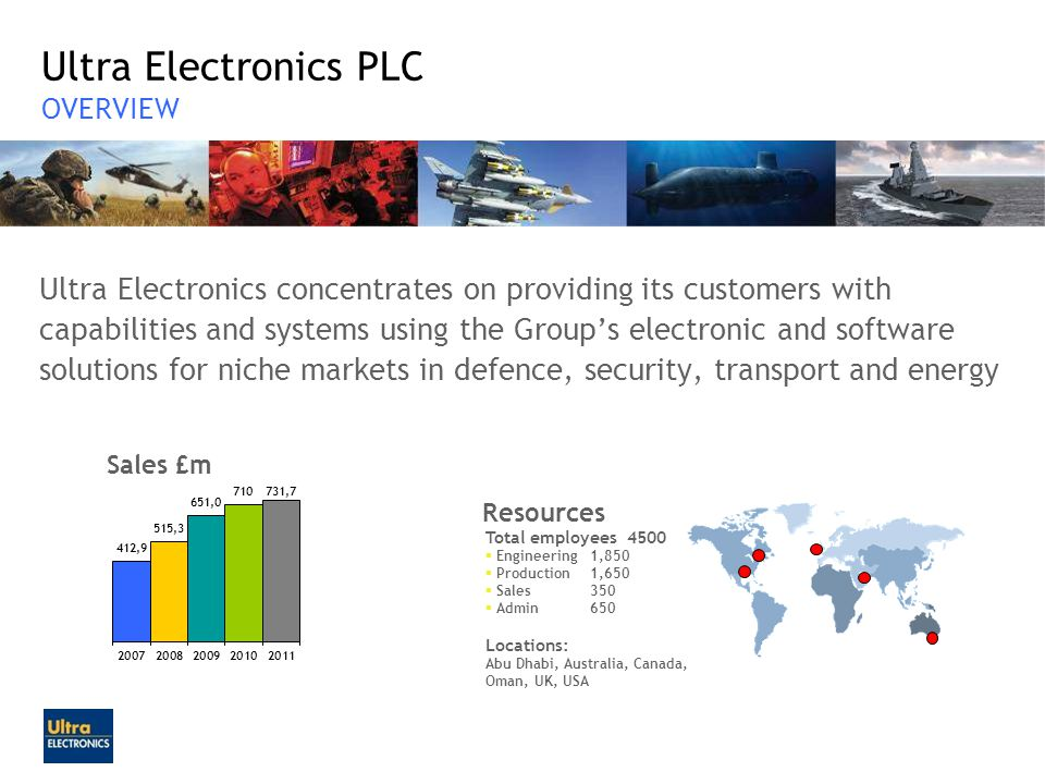 Ultra Electronics PLC OVERVIEW Ultra Electronics concentrates on providing its customers with capabilities and systems using the Groups electronic and