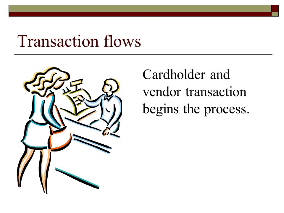 Transaction flows Cardholder and vendor transaction begins the process.