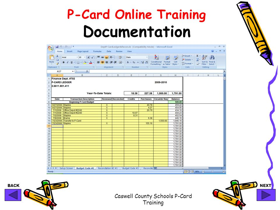 BACKNEXT Caswell County Schools P-Card Training P-Card Online Training Documentation