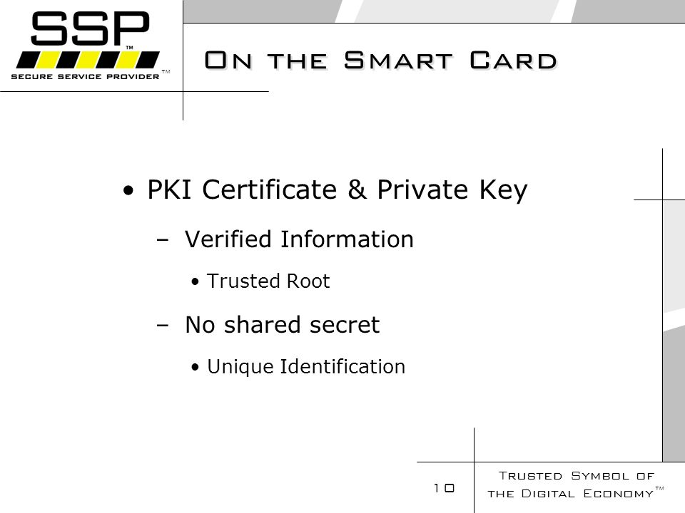 Trusted Symbol of the Digital Economy 10 On the Smart Card PKI Certificate & Private Key – Verified Information Trusted Root – No shared secret Unique Identification