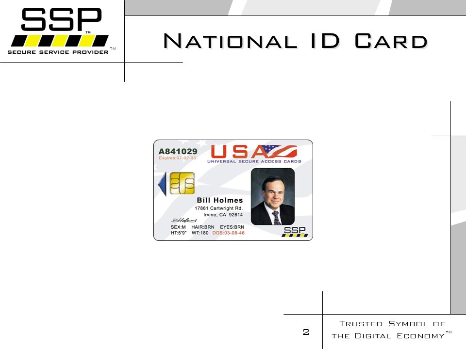 Trusted Symbol of the Digital Economy 2 National ID Card