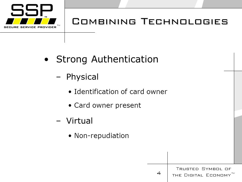 Trusted Symbol of the Digital Economy 4 Combining Technologies Strong Authentication – Physical Identification of card owner Card owner present – Virtual Non-repudiation