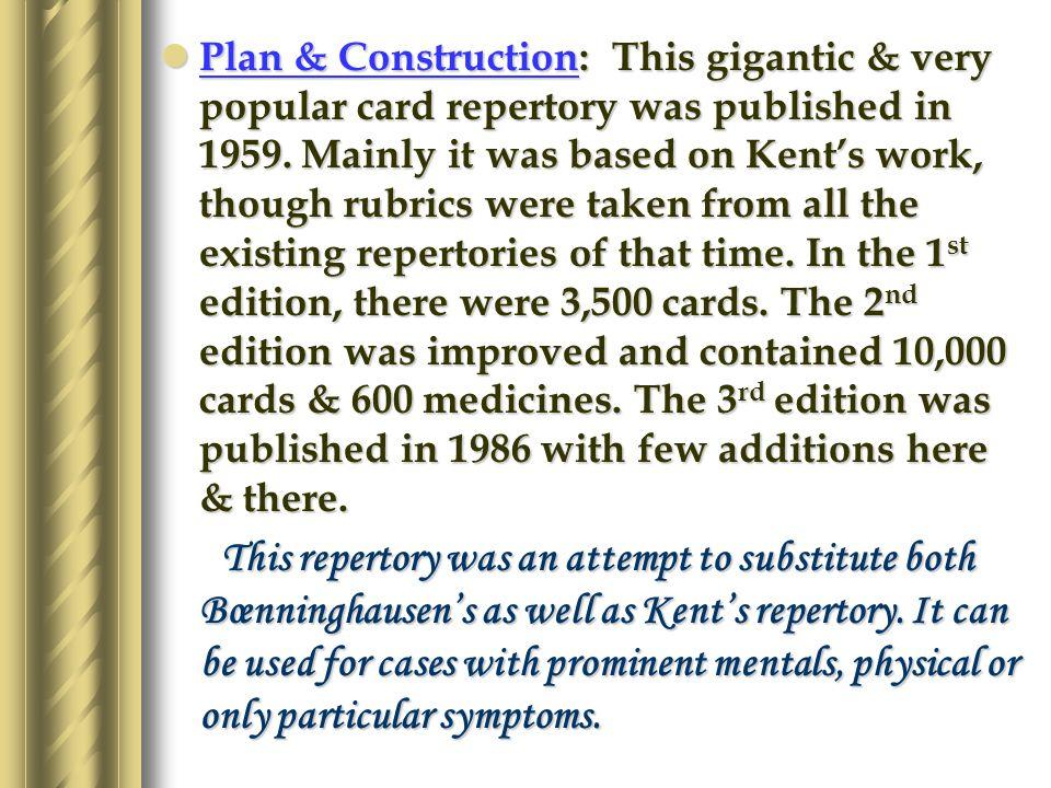 KISHORES CARD REPERTORY Full Name: Dr. Jugal Kishores Homœopathic Card Repertory.