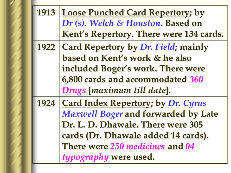 CHRONOLOGY OF CARD REPERTORY 1888 Guernseys Slip; by Dr.