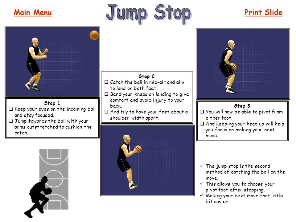 The jump stop is the second method of catching the ball on the move. This allows you to choose your pivot foot after stopping. Making your next move t