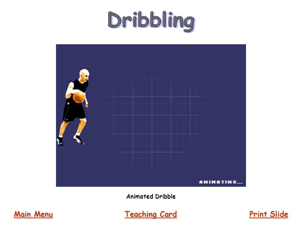 Animated Dribble Main Menu Main Menu Print Slide Print Slide Teaching Card Teaching Card
