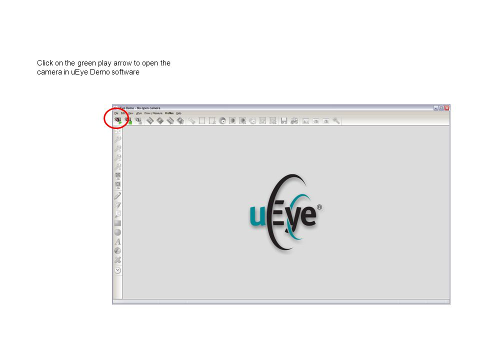 Click on the green play arrow to open the camera in uEye Demo software