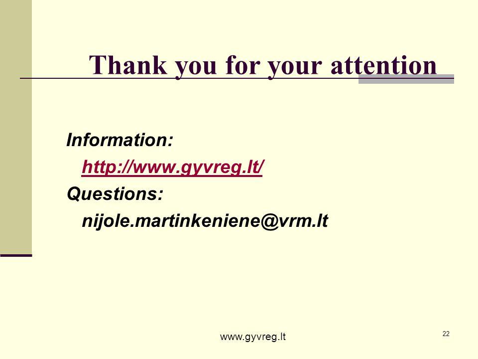 22 Thank you for your attention Information: http://www.gyvreg.lt/ Questions: nijole.martinkeniene@vrm.lt www.gyvreg.lt