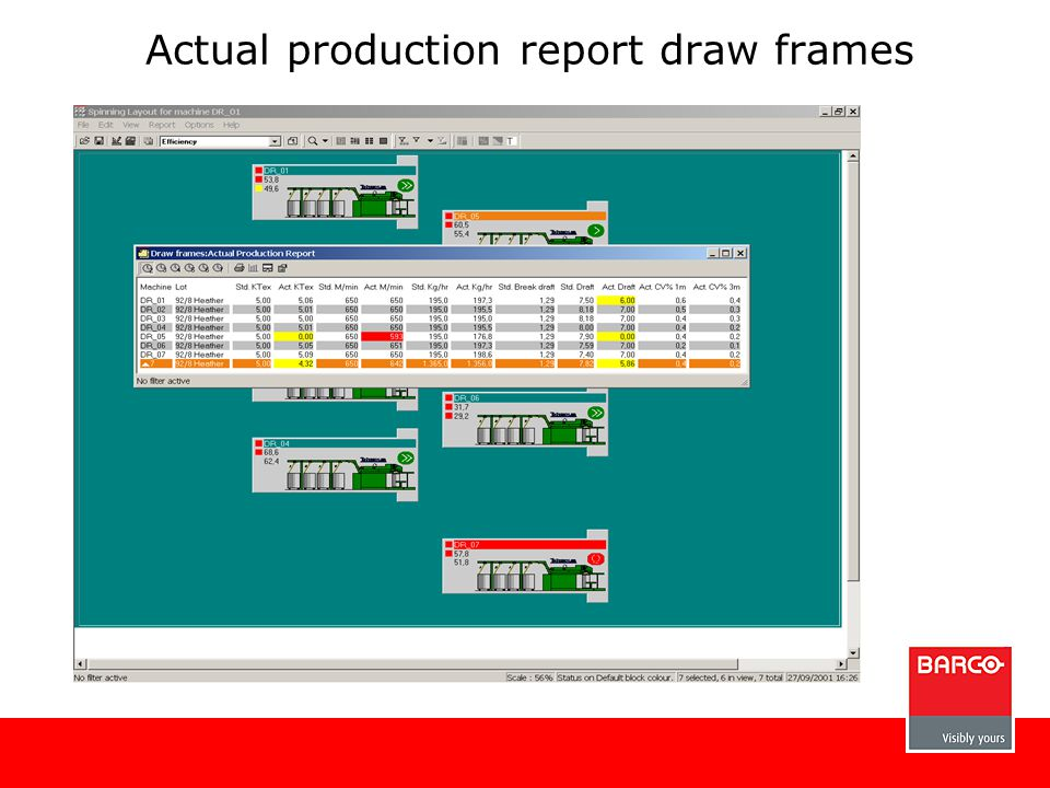 Actual production report draw frames