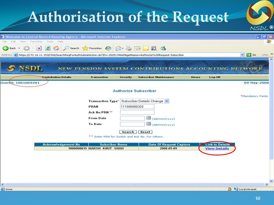 10 Authorisation of the Request® NSDL