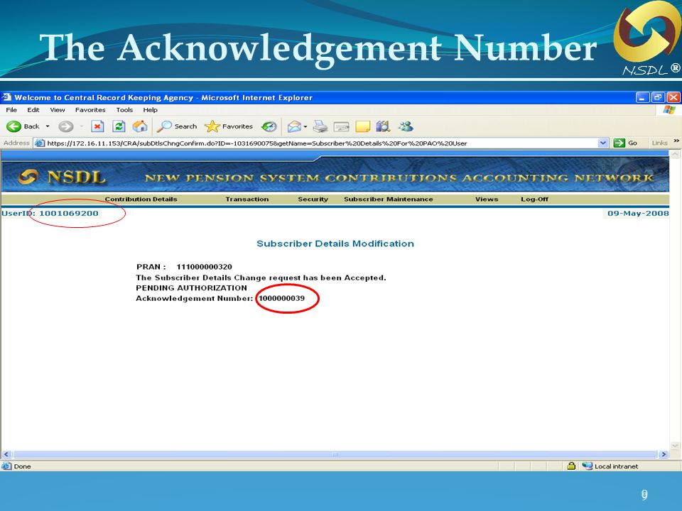 99 The Acknowledgement Number ® NSDL