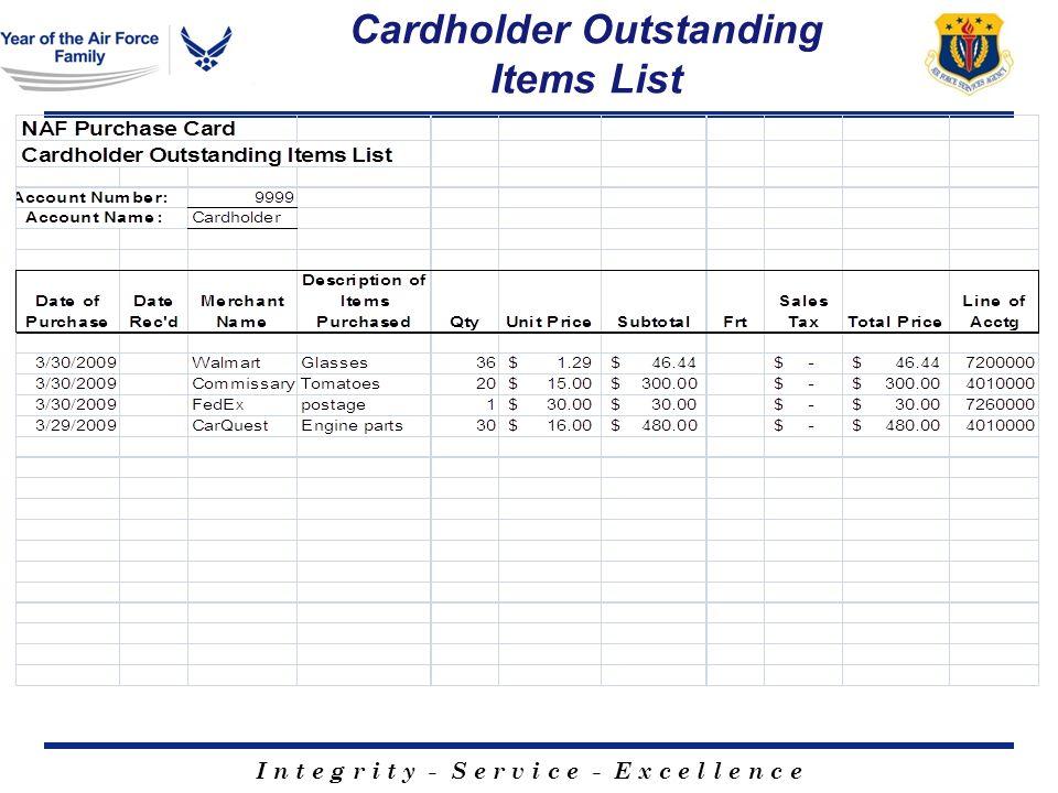 I n t e g r i t y - S e r v i c e - E x c e l l e n c e Cardholder Outstanding Items List