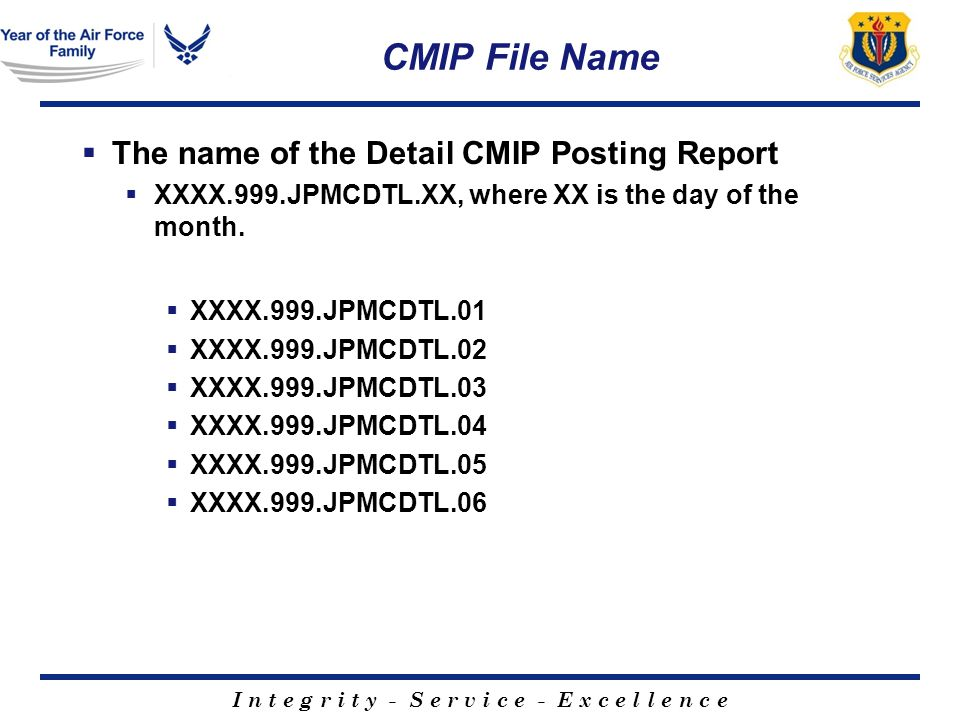 I n t e g r i t y - S e r v i c e - E x c e l l e n c e CMIP File Name The name of the Detail CMIP Posting Report XXXX.999.JPMCDTL.XX, where XX is the day of the month.