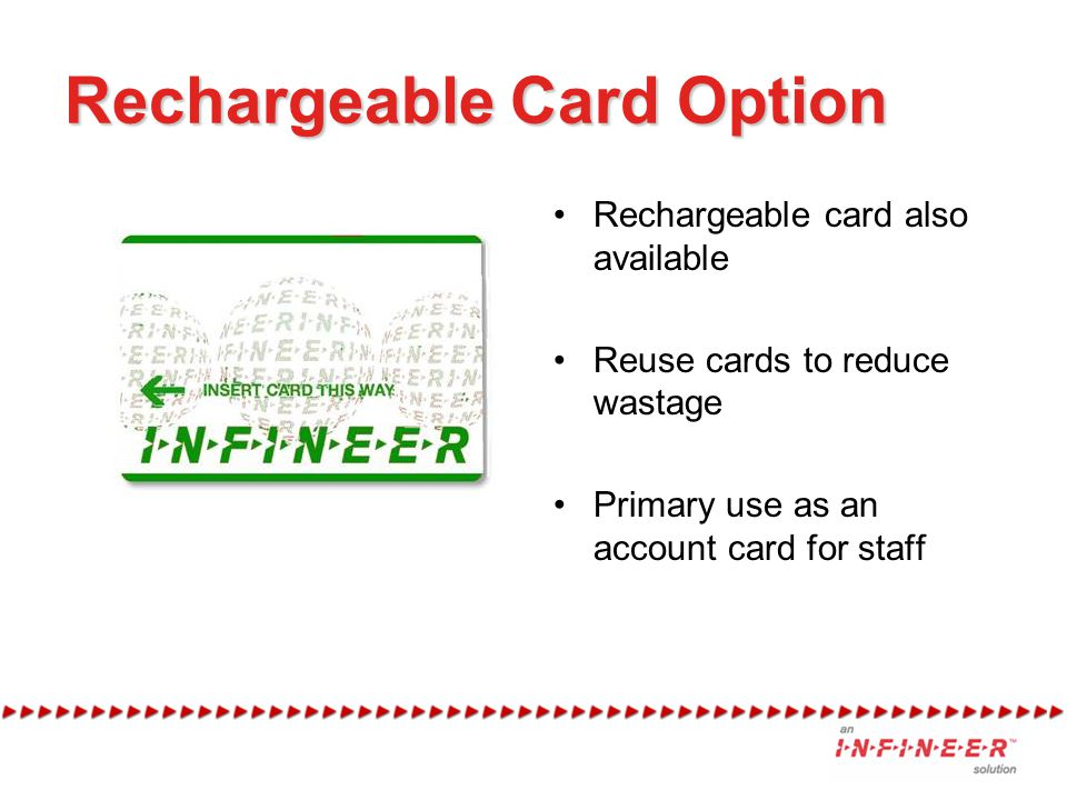 Rechargeable Card Option Rechargeable card also available Reuse cards to reduce wastage Primary use as an account card for staff