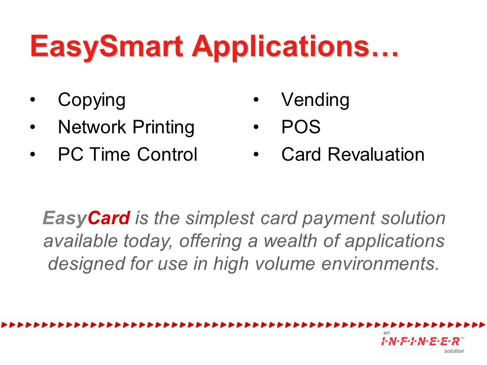 EasySmart Applications… Copying Network Printing PC Time Control Vending POS Card Revaluation EasyCard is the simplest card payment solution available
