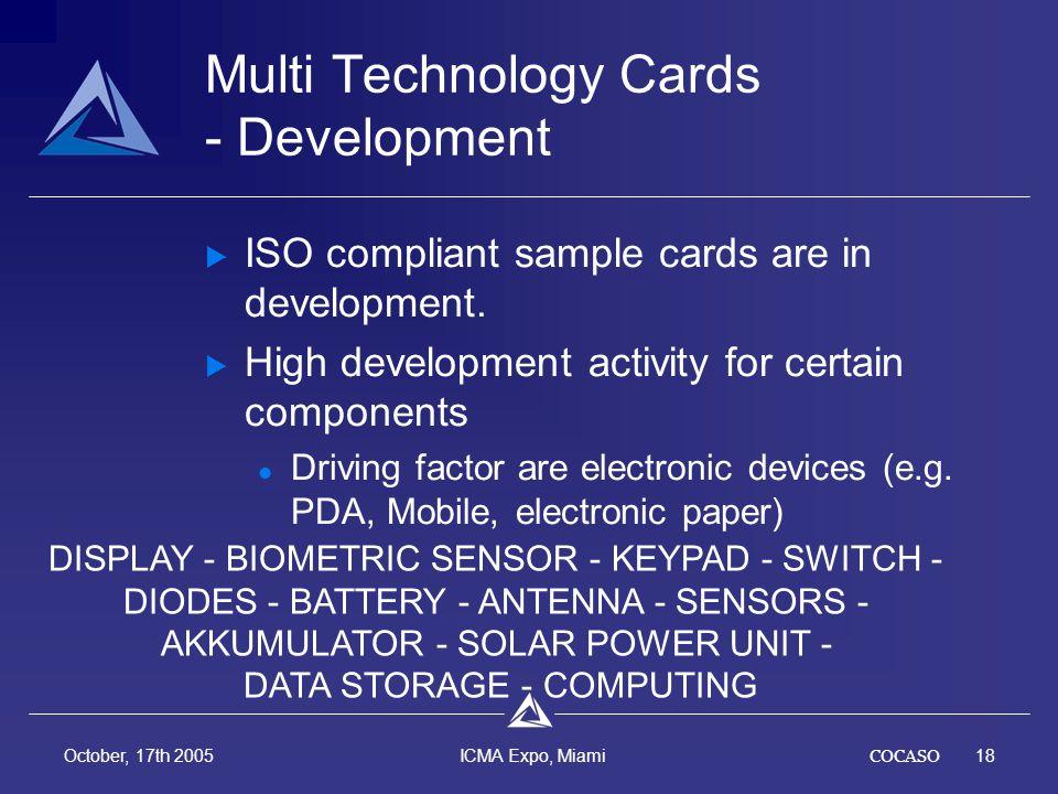 COCASO18 October, 17th 2005 ICMA Expo, Miami Multi Technology Cards - Development ISO compliant sample cards are in development.
