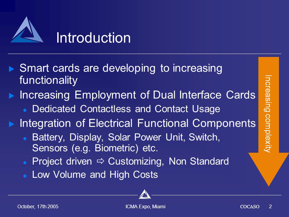 COCASO2 October, 17th 2005 ICMA Expo, Miami Introduction Smart cards are developing to increasing functionality Increasing Employment of Dual Interface Cards Dedicated Contactless and Contact Usage Integration of Electrical Functional Components Battery, Display, Solar Power Unit, Switch, Sensors (e.g.