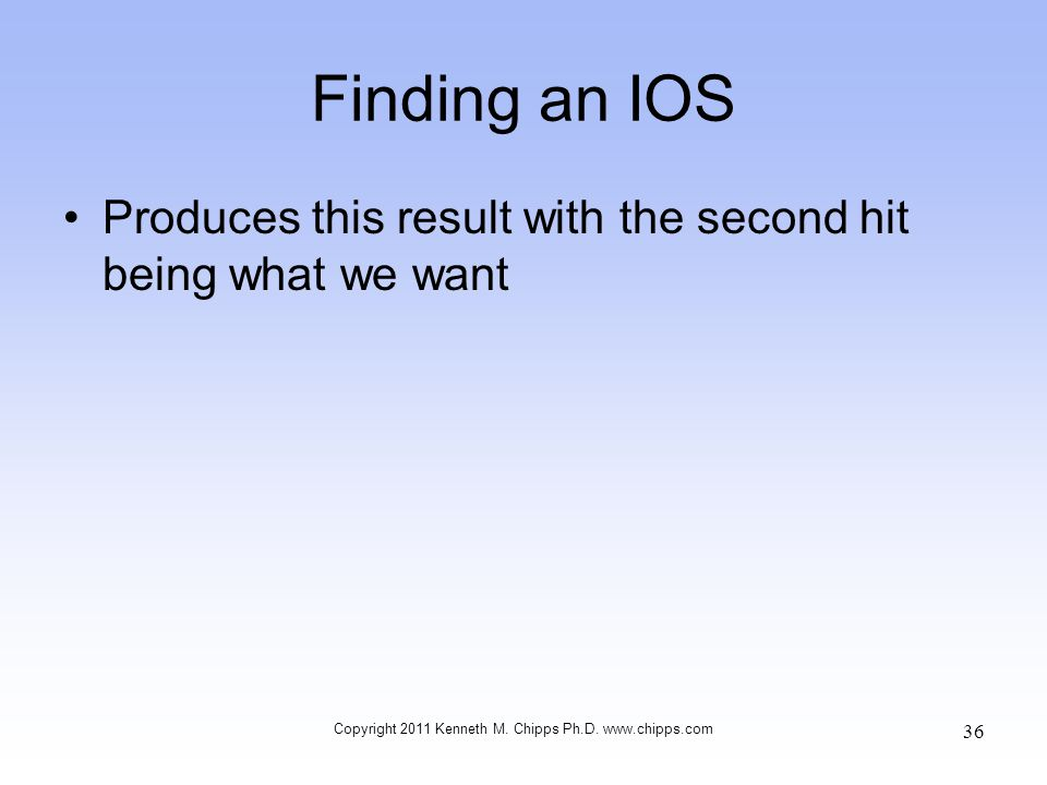 Finding an IOS Produces this result with the second hit being what we want Copyright 2011 Kenneth M. Chipps Ph.D. www.chipps.com 36