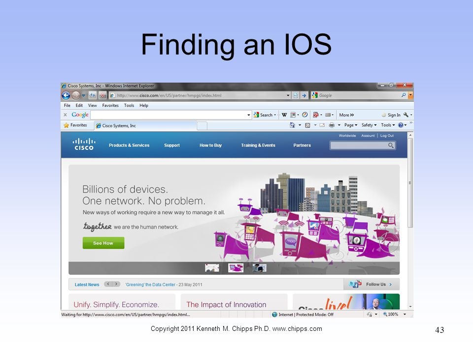 Finding an IOS Copyright 2011 Kenneth M. Chipps Ph.D. www.chipps.com 43