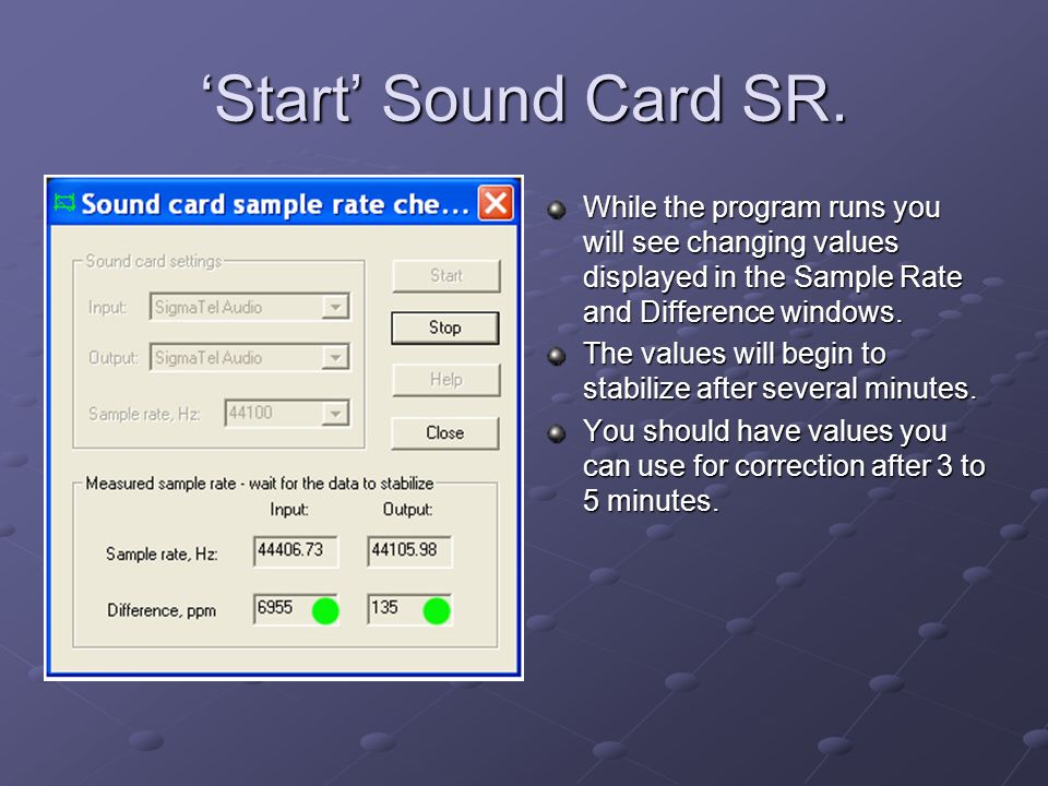 Start Sound Card SR.