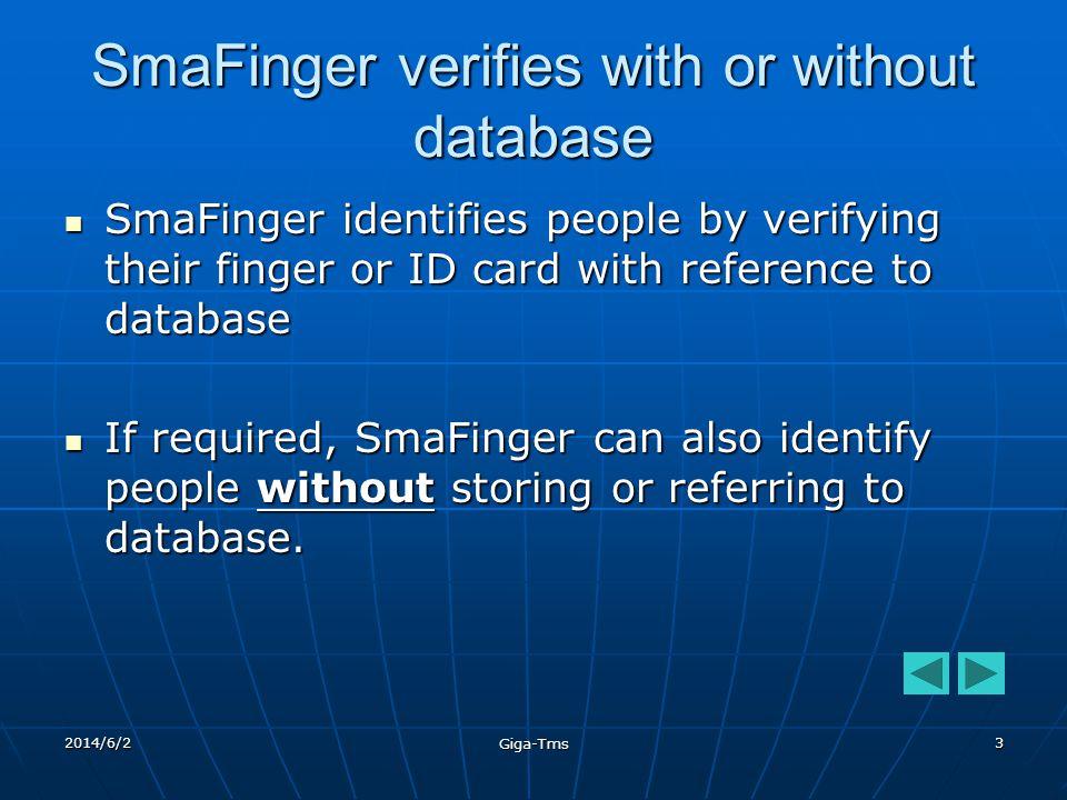 2014/6/2 Giga-Tms 13 Scan fingerprint Scan fingerprint to database to database Database Mode - 1 Finger Scan Verify fingerprint Verify fingerprint against database against database