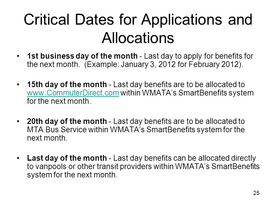 25 Critical Dates for Applications and Allocations 1st business day of the month - Last day to apply for benefits for the next month. (Example: Januar