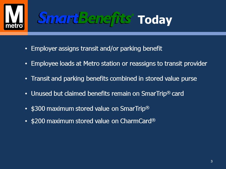 Changes SmarTrip® Compartments Transit benefit Metro parking benefit Personal stored value 4