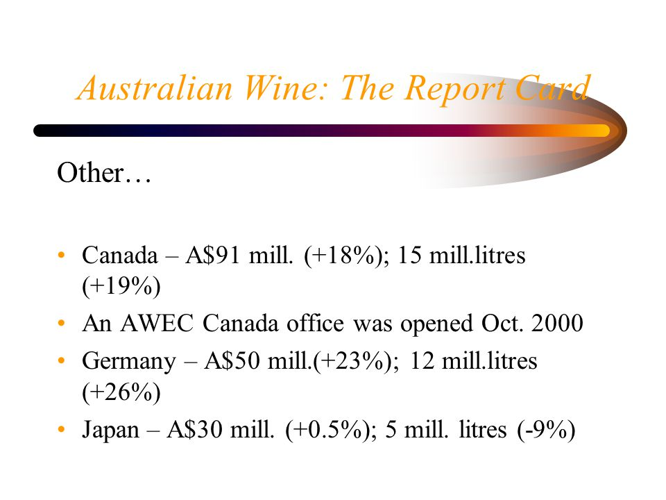 Australian Wine: The Report Card Other… Canada – A$91 mill. (+18%); 15 mill.litres (+19%) An AWEC Canada office was opened Oct. 2000 Germany – A$50 mi