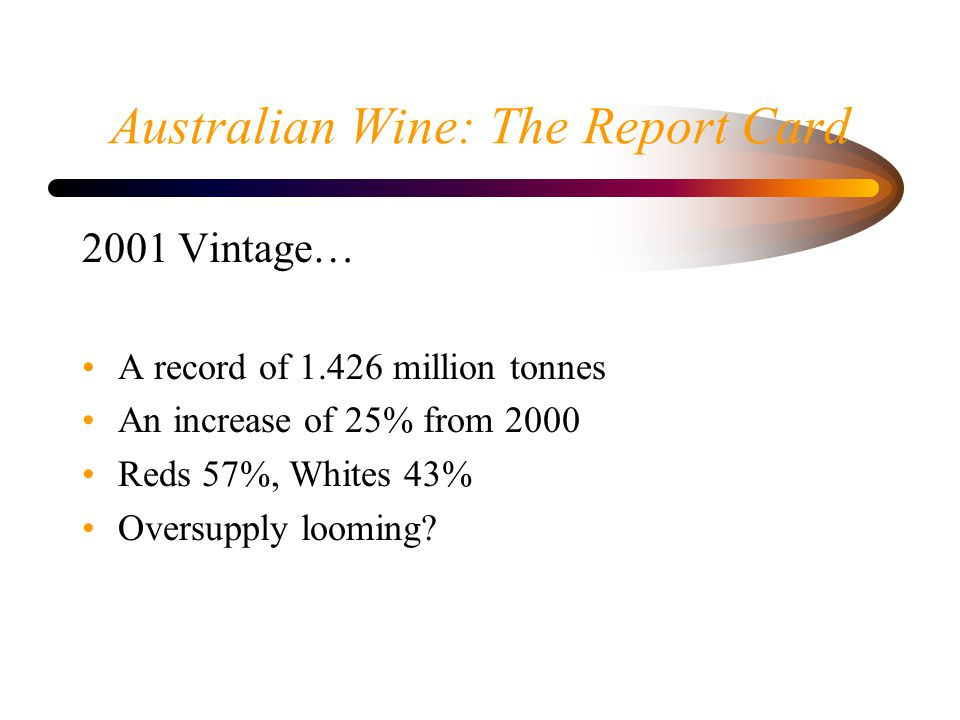 Australian Wine: The Report Card 2001 Vintage… A record of 1.426 million tonnes An increase of 25% from 2000 Reds 57%, Whites 43% Oversupply looming?